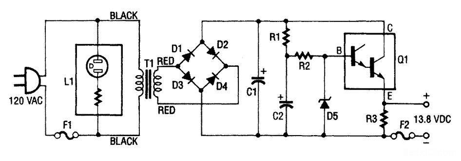 这种稳压电源包含降压变压器t1,全波整流桥(d1到d4)以及一个由c1, c2
