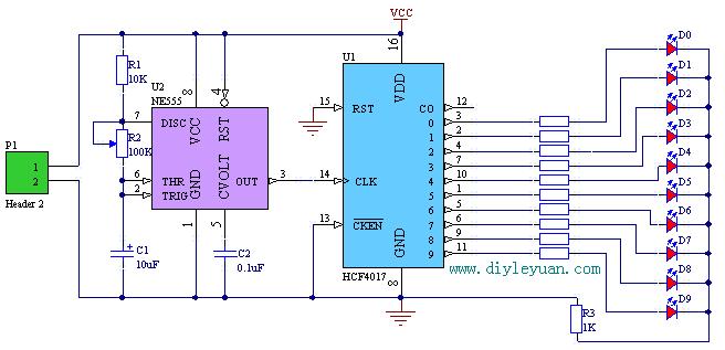 制CD4017流水灯电路图片