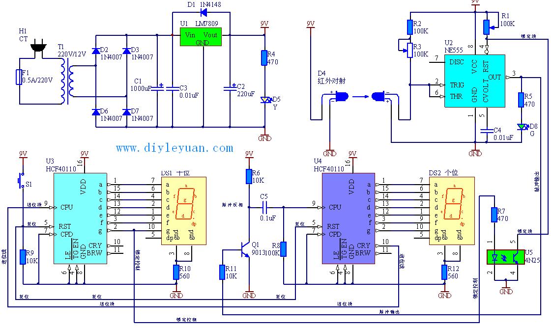 江西省大学生电子设计大赛赛题-生产线自动计数器的制作参考电路图2