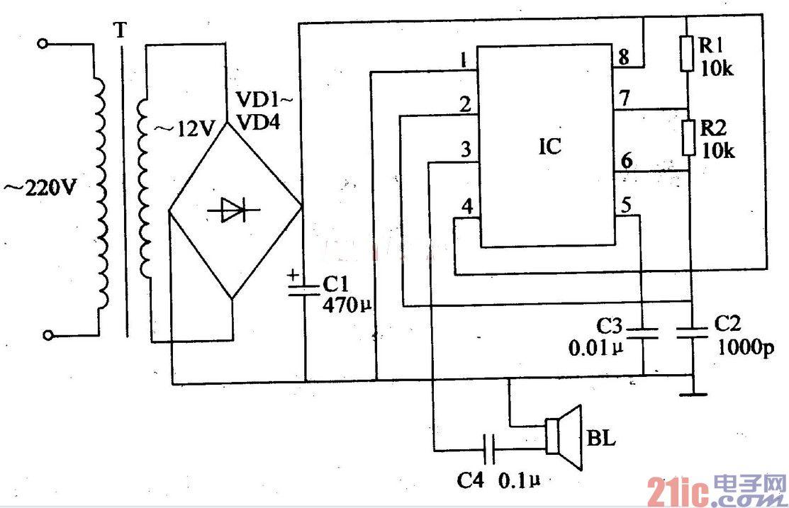 采用555时基集成电路制作的简易超声波驱虫器