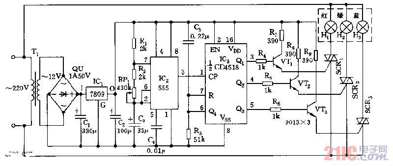 色彩灯循环控制电路由交流降压整流电路、时基脉冲发生器、同步加图片