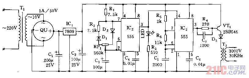 555间歇式臭氧发生器电路图