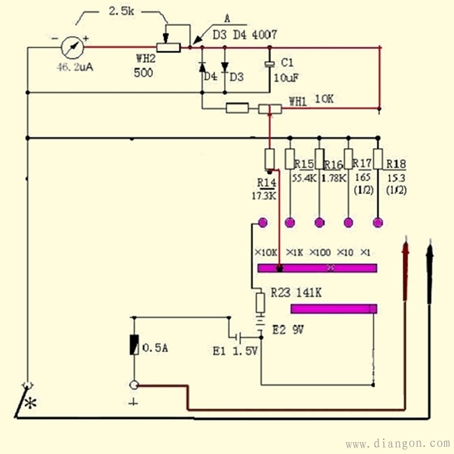 "jpg"">  /p> p>六,电阻测量电路  /p> p>测量电阻时,要使用内部电池."