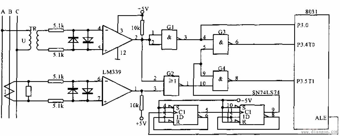 三相交流电测量接口电路图
