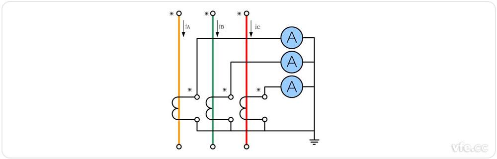 三相完全星形接线和三角形接线形式电流互感器接线