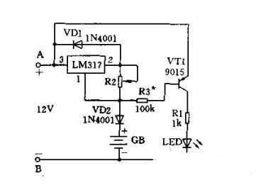 集成电路充电器,如图所示是用三端稳压器(lm317)构成的恒流充电电路.