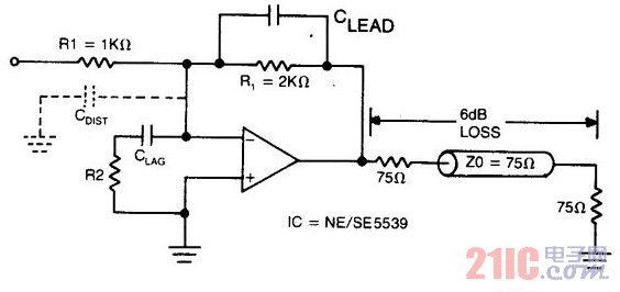 75欧姆系统宽频带统一增益反相放大器电路图