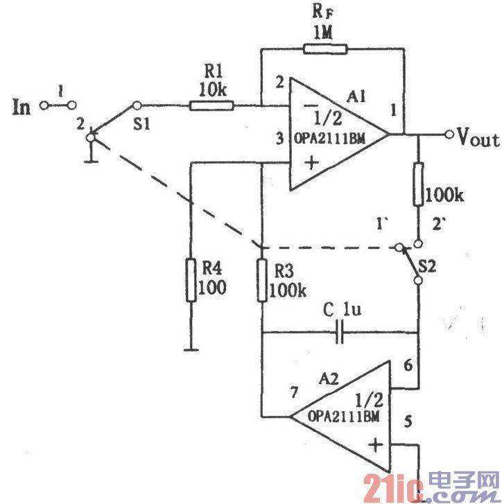 opa2111bm构成的自动校零放大器电路图