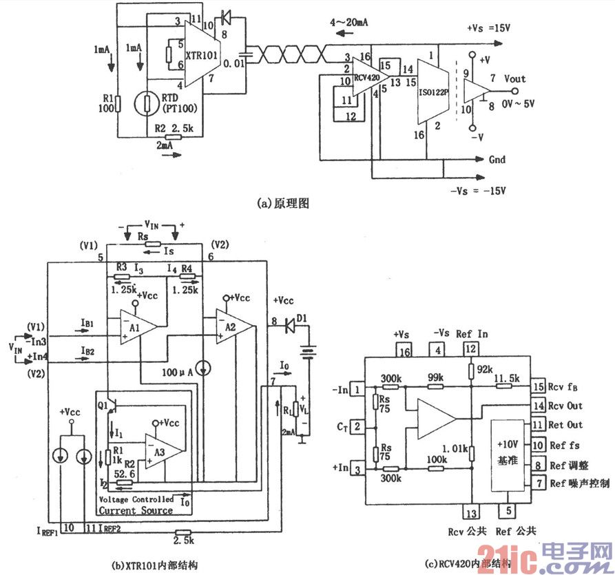 该电路中,rtd为铂电阻温度传感器,当温度升高时,rtd的电阻值将增大.