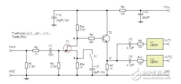 示电路采用两个工作在不同频率下的555定时器,以获取不同的音效