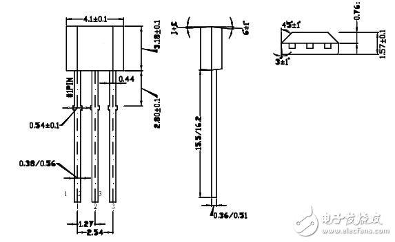 1、单极霍尔效应开关(数字输出)   单极霍尔效应开关具有磁性工作阈值 (Bop)。如果霍尔单元承受的磁通密度大于工作阈值,那么输出晶体管将开启;当磁通密度降至低于工作阈值 (Brp) 时,晶体管会关闭。滞后 (Bhys) 是两个阈值 (Bop-Brp) 之间的差额。即使存在外部机械振动及电气噪音,此内置滞后页可实现输出的净切换。单极霍尔效应的数字输出可适应各种逻辑系统。这些器件非常适合与简单的磁棒或磁杆一同使用。单极性霍尔开关它的正反面会各指定一个磁极感应才会有作用,在具体应用当中应该注意磁铁的磁极