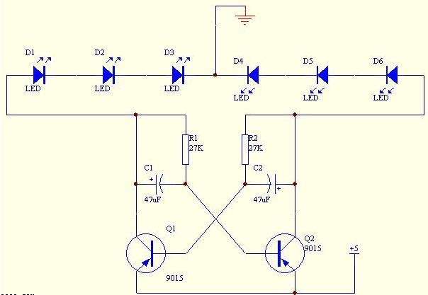 三极管变色闪光灯制作电路图