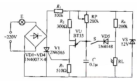 单向晶闸管控制的调光灯电路图图片