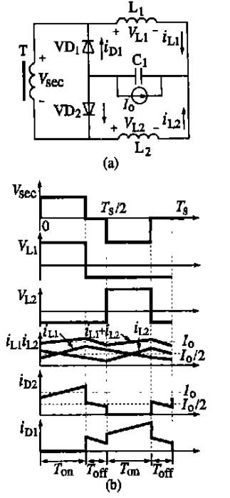 图3 倍流整流式结构与波形图