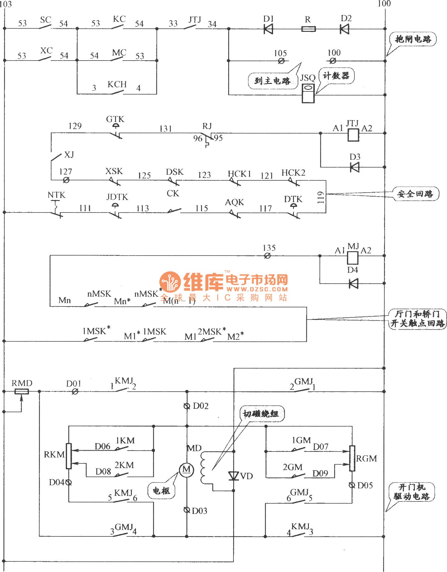 沈阳三洋交流双速电梯抱闸,门机与安全回路电路-控制