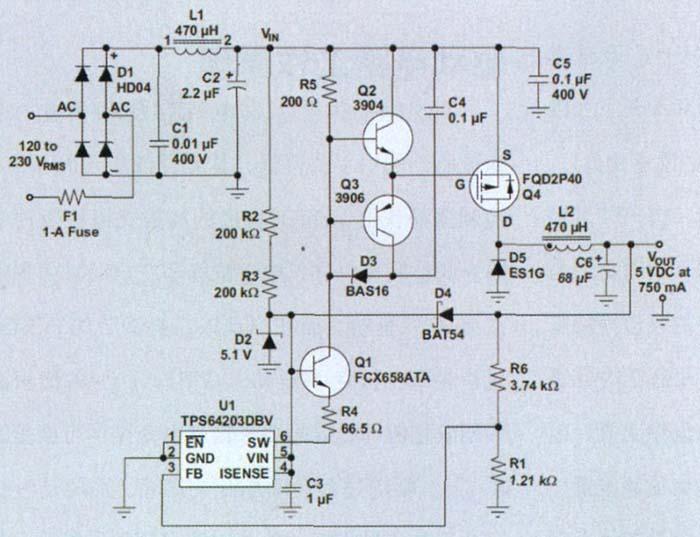 AC/DC 降压转换器电路-用于智能电表的非隔离式AC DC降压转换器 图片
