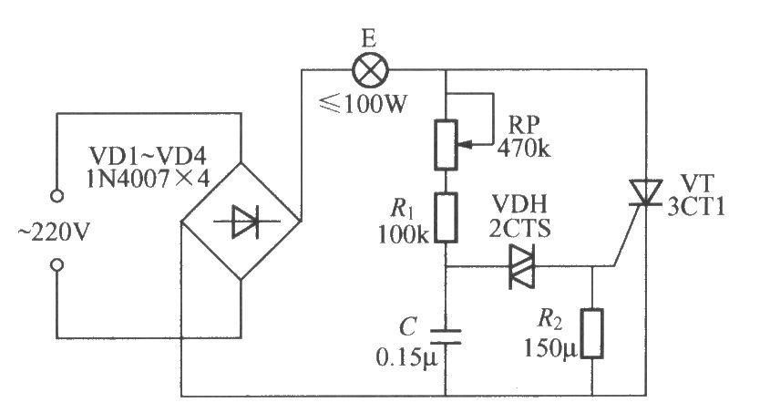 采用双向触发二极管的单向晶闸管调光灯电路-控制电路图片