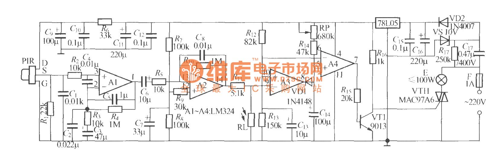 pir可采用p228型等热释电红外传感器,为提高其灵敏度,最好为其加装
