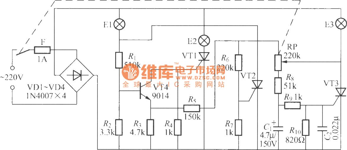 晶闸管三色调光灯电路 控制电路