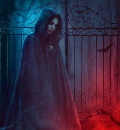 使用ps软件怎么合成幽灵站在铁门旁的场景呢?