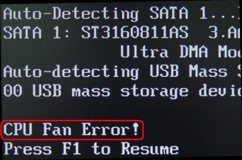 """計算機提示"""" CPU風扇錯誤!"""