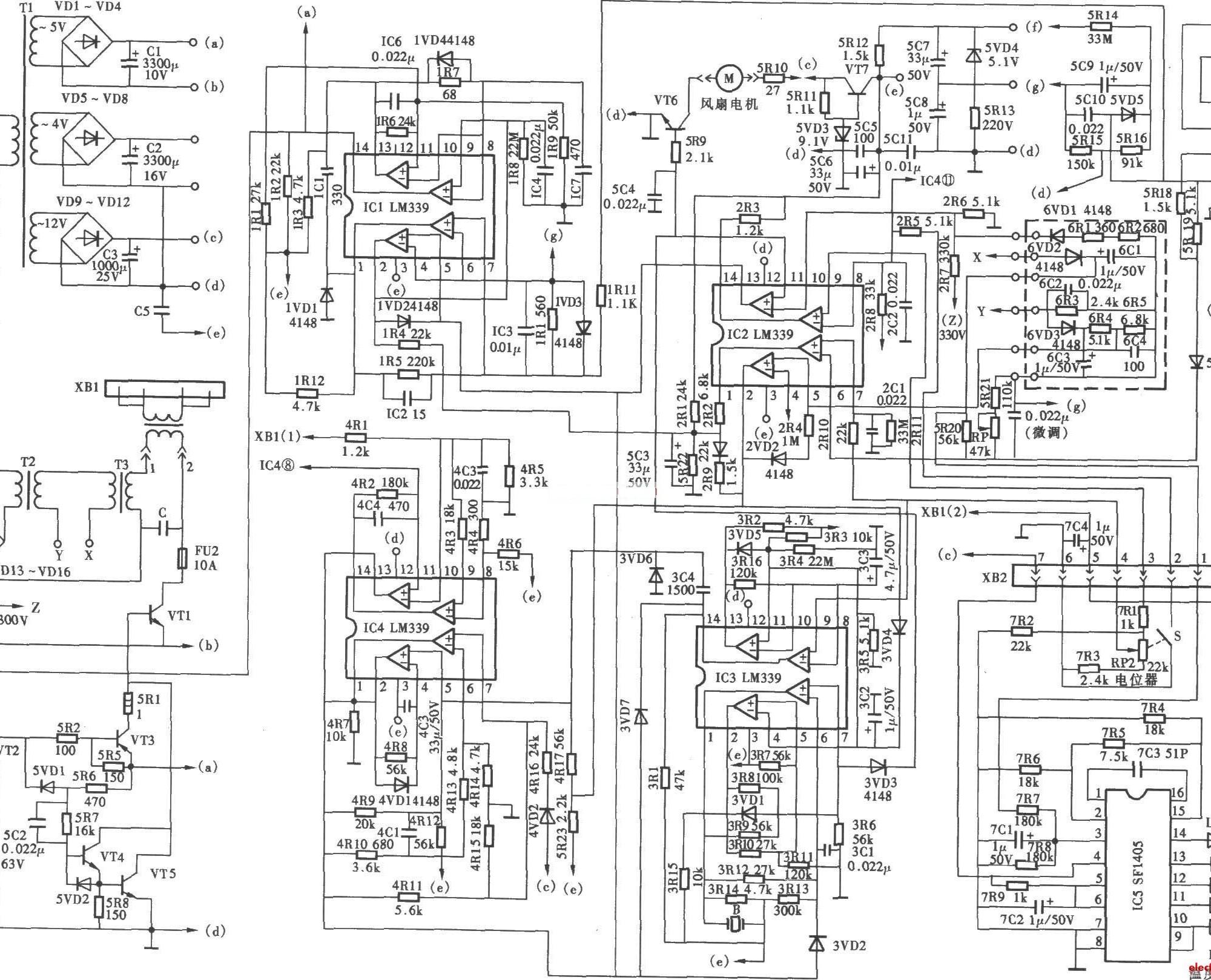 海乐dzc-1000w型电磁炉电路主要由lm339和se1405等元件构成.