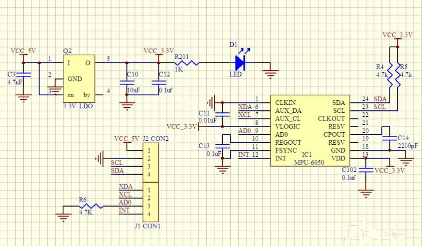 控制芯片捕获接收机的ppm命令信号,传感器与控制芯片之间采用iic总线