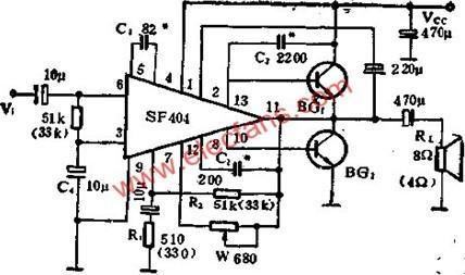 sf404音频功率放大驱动电路的应用说明