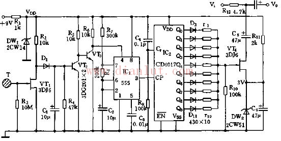 触摸式音量自动调节器电路图