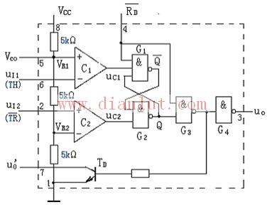 介绍时基电路555定时器的外引线及功能表