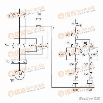电动机可逆带限位控制电路原理图