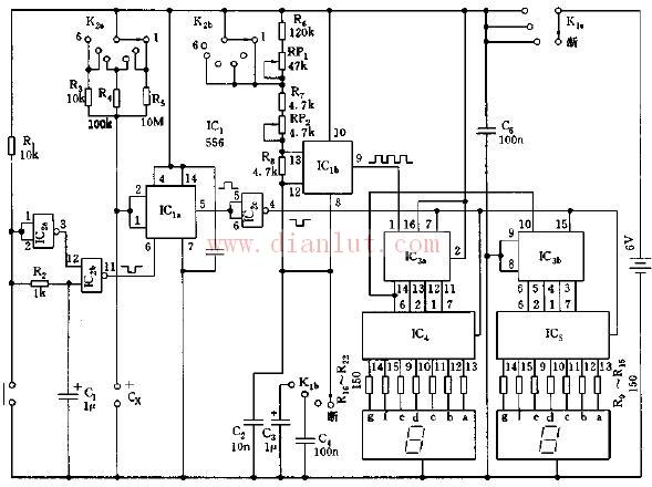 数字式电容测试仪电路原理图