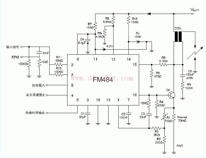 基于fm484磁感应型汽车点火电路图
