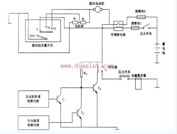 如图所示为汽车空调的基本控制电路,我们将以它为例介绍汽车空调的图片