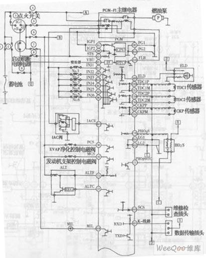 雅阁轿车v6发动机电控系统电路图一