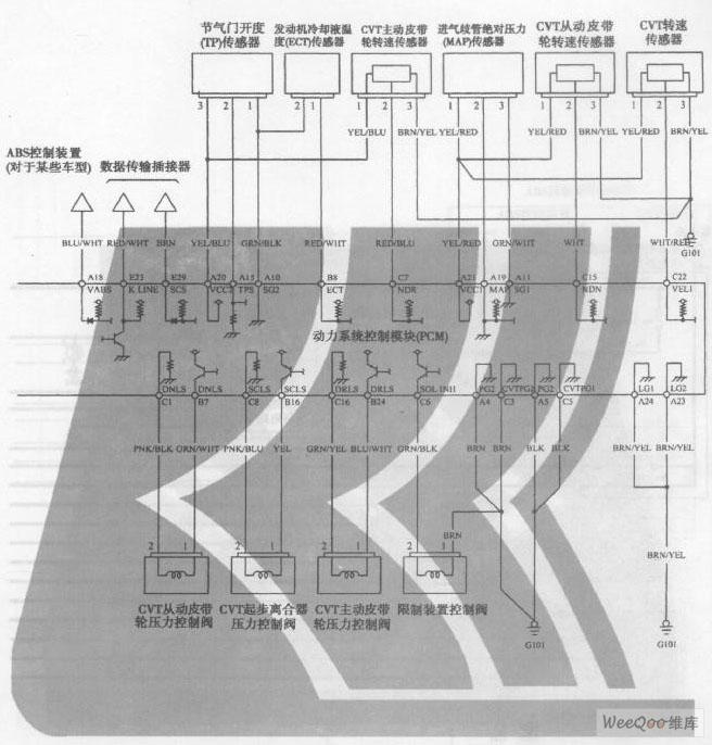 广州本田飞度轿车6挡无级变速器电路图三