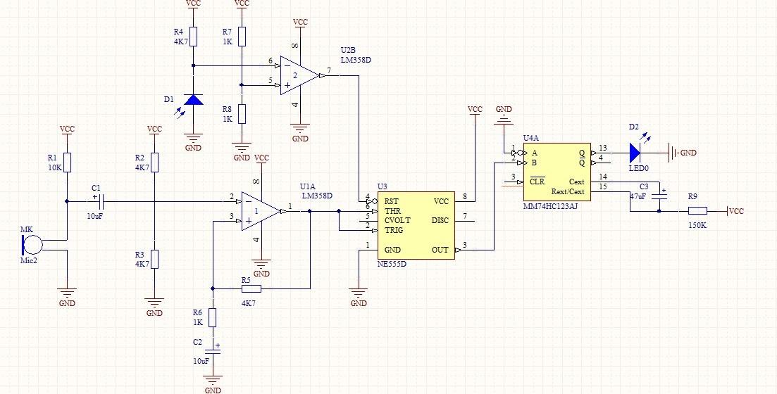 图1 楼道声控灯电路图