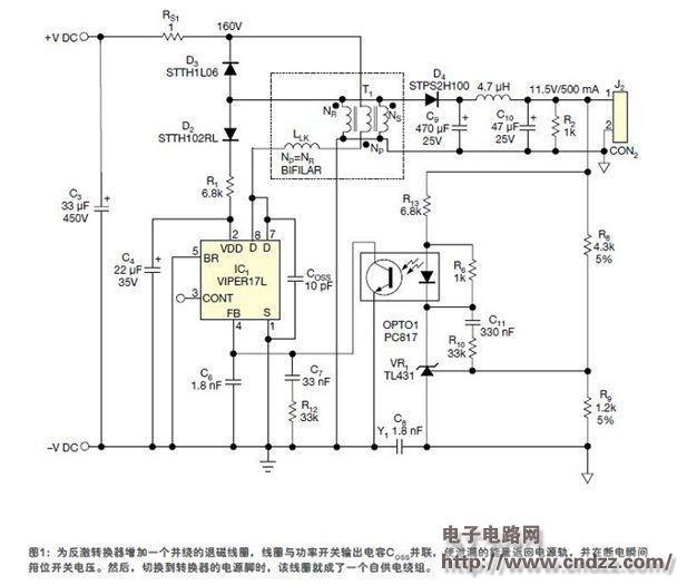 泄漏能量恢复线圈为dc/dc转换器自供电电路图