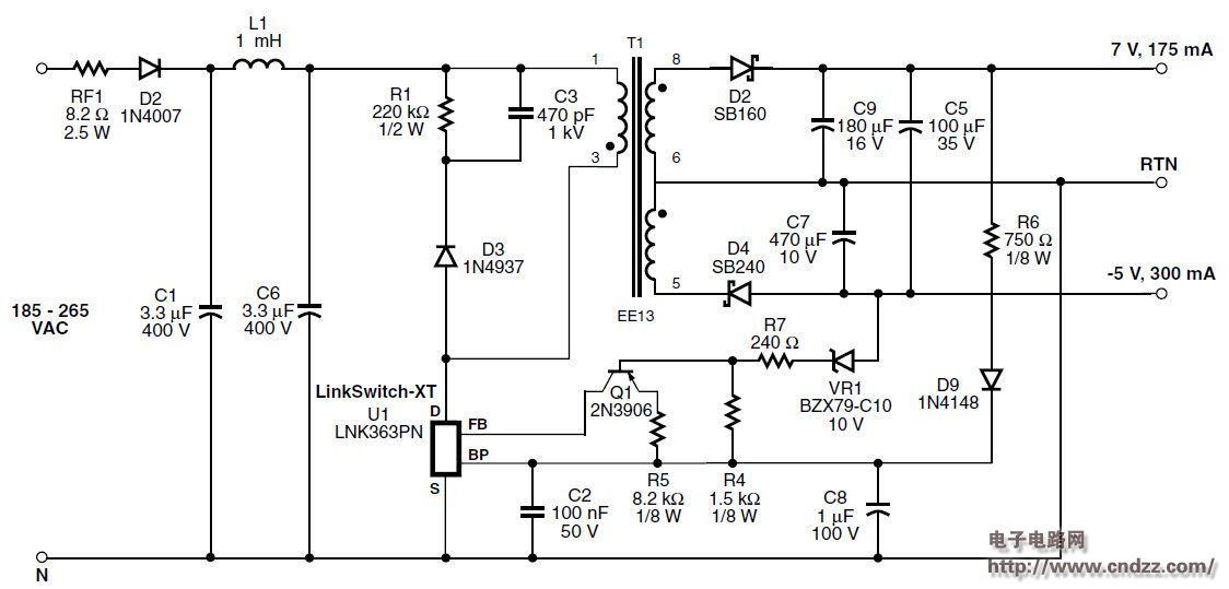 采用lnk363pn设计的2.7 w双输出非隔离电源电路