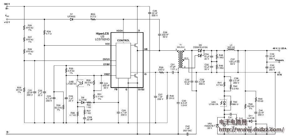 vac - 265 vac led路灯的48 v,150 w参考设计电源.图片