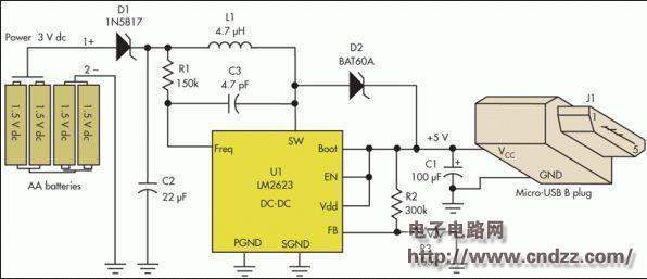 5号aa电池做的usb手机充电器电路图