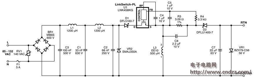 5w非隔离式,带功率因数校正led驱动器,附电路图,物料清单,规