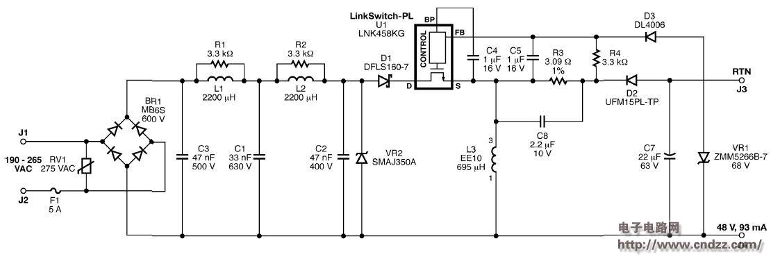 5w非隔离降压升压led驱动器,附电路图,物料清单,规格文件,印