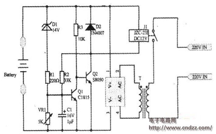 12v蓄电池自动充电电路图