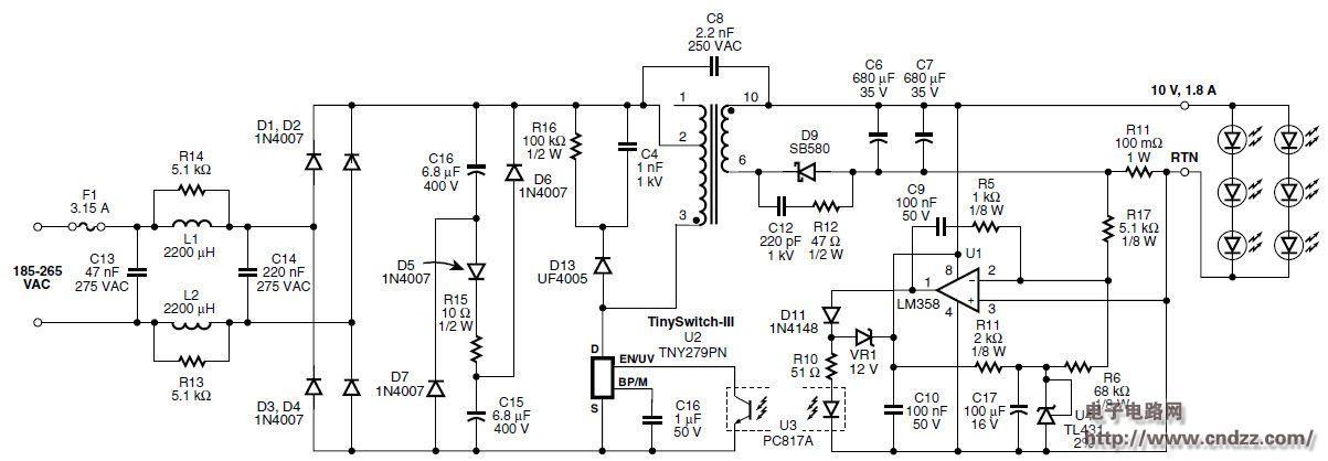 无源pfc的led灯驱动电源的电路设计