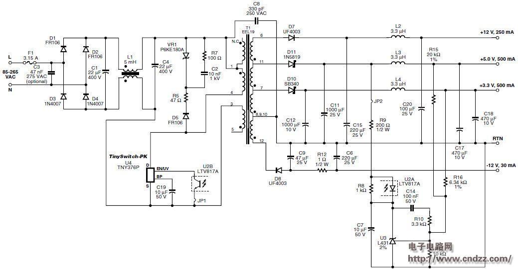 dvd播放器多路输出电源电路设计