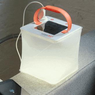 神奇的太阳能移动电源!吹吹气秒变LED灯