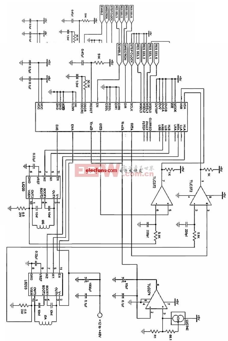 起动机电路图简图-1002分步进马达控制器应用电路图片