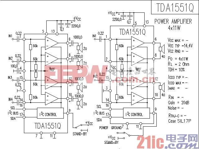 DA1551Q功率放大器电路图图片