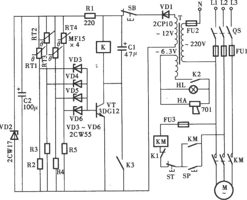 三相电动机过热断相保护电路图